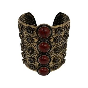 Metal Gold & Red Stone Goddess Cuff Bracelet